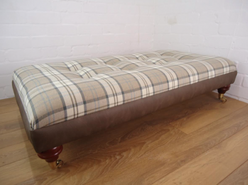 Bespoke Footstool - Berwick Plaid & Brown leather look border  Footstool